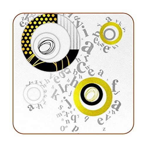 Posavasos Cuadrados para Bebidas Platinum Geometry Print Tazas de Cuero Alfombrilla para Madera,Vidrio,Muebles,Mesa de café,protección,Juego de 6