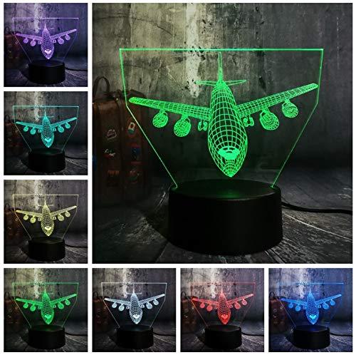 Erstaunliche 7 Farbwechsel 3D Led Nachtlicht Flugzeug Schreibtischlampe Freund Familie Kind Geburtstag Weihnachtsgeschenk Lava Touch Schalter