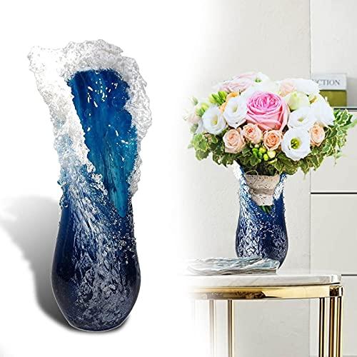 YfgthDSD Majestätisk vågig vas, kreaktiv hemkaffebutik dekoration vaser harts skrivbord blomkruka, havsblå blomvaser, blomvas, för hemkaféet