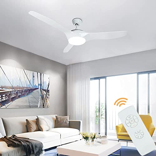 2021 Depuley Ceiling Fan with Lights and Remote, 52-Inch Flush Mount Ceiling online Fans outlet sale Light Kit, 3 Reversible Blades Fan for Living Room, Bedroom, Noiseless DC Motor, Farmhouse White, 3 Dimmable Colors, Timer sale