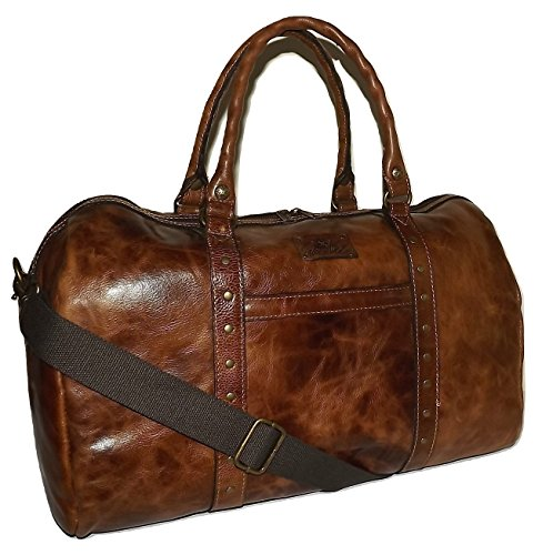 Patricia Nash Vintage Italian Leather 20' Milano Duffel Bag Luggage Cognac, Medium