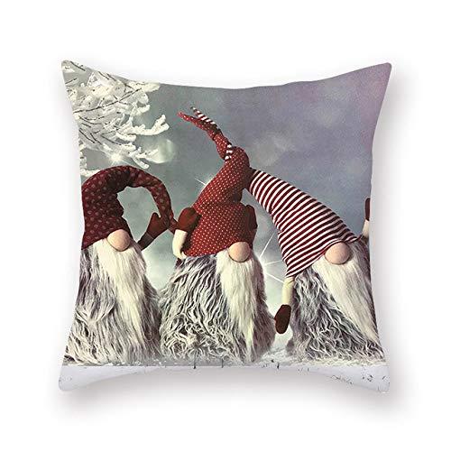 wefwef 18 X 18 Pulgadas,Color Cuadrado Color Navidad Cojín Cubierta Impresión Poliéster Navidad Snowman Decorativo Throw Almohadas Caso De Dibujos Animados Xmas Ciervos Cojín Cubierta para Sofá Coche