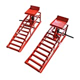 TECHTONGDA 2pcs Car Lift Service Ramps with Hydraulic Jack Heavy Duty for Vehicle Auto Truck Garage Repair Steel Frame