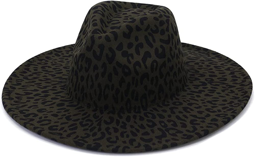 Women Classic Leopard Wide Brim Fedora Hat Felt Panama Hat Outdoor Travel