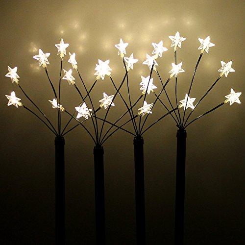 Wohaga 4 LED Leuchtstäbe mit Erdspieß H66cm 24 LEDs Gartenstecker Gartenstäbe für Außen Sternenstäbe Außendekoration Lichterdeko Leuchtstäbe Gartendekoration Außenbeleuchtung