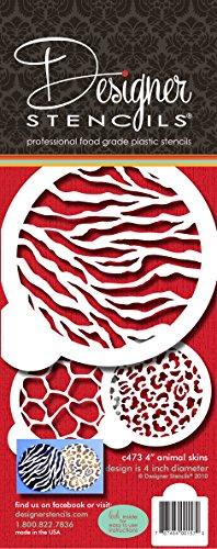 Designer Stencils Cookie Stencil Animal Skins, 4-Inch, Beige/Semi-Transparent