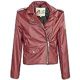 Kids Jackets Girls Designer's PU Leather Jacket Zip Up Biker Coats 5-13 Years Wine