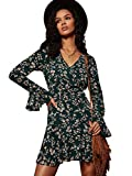 Milumia Women Boho Vintage Floral Print V Neck Dress Ruffle Hem A Line Party Cocktail Dresses Green X-Large