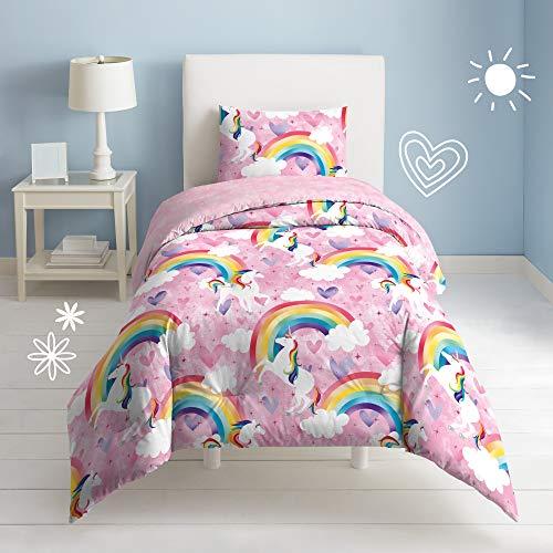 dream FACTORY Kids 2-Piece Easy-Wash Super Soft Cotton Comforter and Pillow Sham Set, Twin, Pink Unicorn Rainbow