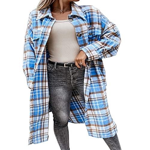 Pabuyafa Las mujeres de manga larga camisa a cuadros chaqueta chaqueta de manga larga solapa botón abajo Shacket Top Casual Otoño Invierno Abrigos, Azul 2, XL
