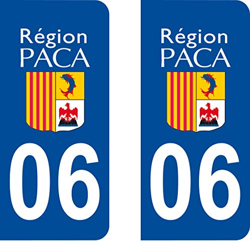 SAFIRMES 2 Stickers Autocollant Style Plaque Immatriculation département 06