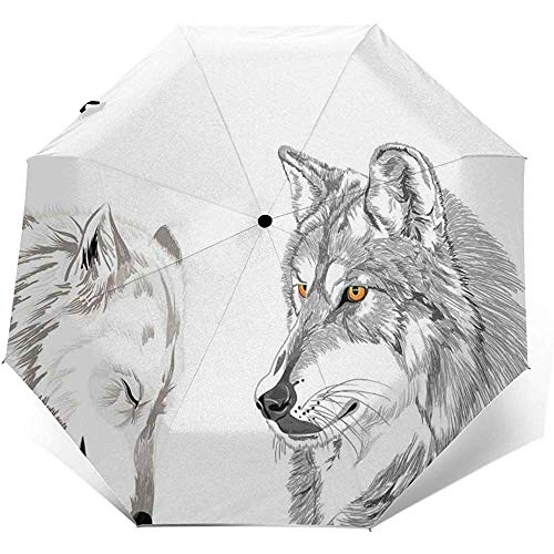 Automatisch Öffnen Schließen Dreifach gefalteter winddichter Reiseschirm, Zwei Wolf-Porträts, die das Fleischfressertier-Natur-Thema der Jagd-wild lebenden Tiere, Außendruck schlafen