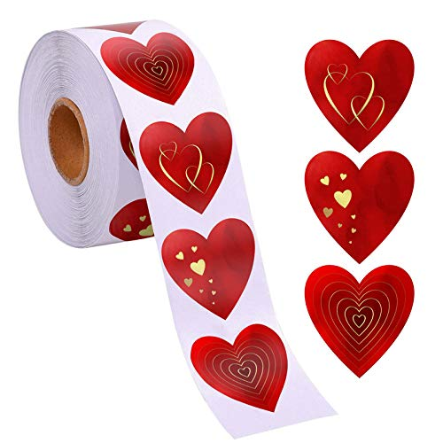 500 Red Heart Shape 1.5' with Special Gold Foil Valentine Stickers | 3 Different Designs in one roll | Suitable for Valentine's Love Decorative Stickers Valentine's Day Decorations Accessories.