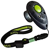ASCO Clicker da Dito Premium con Cinturino da Polso Elasticizzato per clicker Training, clicker Professionale per Cani, Gatti e Cavalli, clicker per addestramento Cani, Nero AC01FA