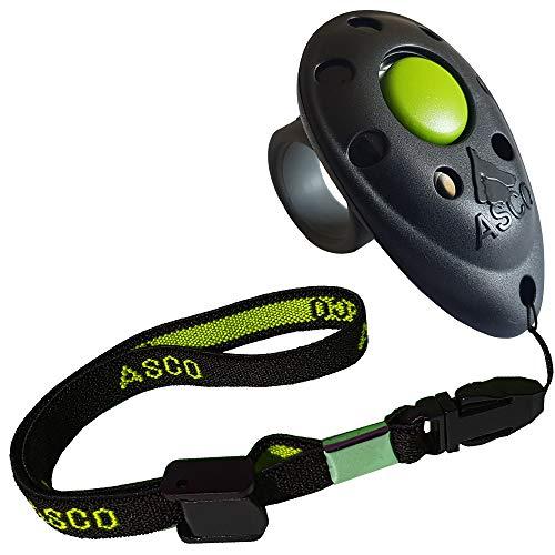 ASCO Clicker de Dedo prémium Cinta elástica para la Mano para Entrenamiento con clicker, clicker Profesional para Perros, Gatos y Caballos, adiestramiento de Perros con clicker, Negro AC01FA
