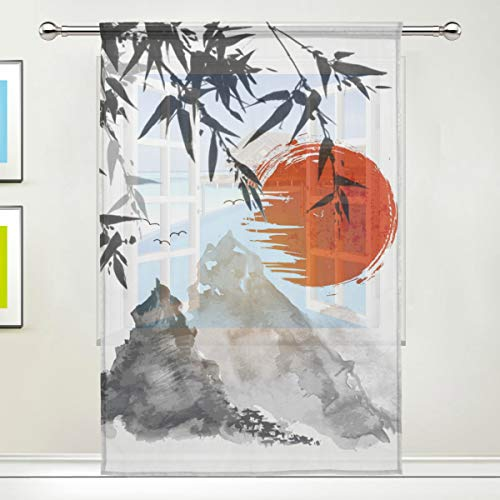 CPYang Durchsichtiger Vorhang, traditionelles japanisches Gemälde, Voile, Fenstervorhang für Wohnzimmer, Schlafzimmer, Tür, Küche, 140 x 198 cm, 1 Panel