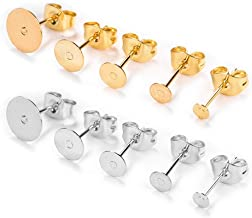 OBSEDE 200 Pieces Stainless Steel Earrings Posts Flat Pad (5 Size) with 200 Pieces Earring Plugs Backs for Earring Making Findings, Total 100 Pairs, Golden and Silver Color