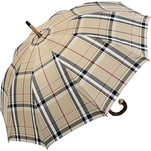 Doppler Manufaktur Herren Regenschirm Kastanie Schirm - Karo beige