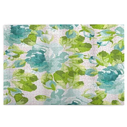 Rompecabezas de 1000 piezas para adultos Shabby Flora Tropical Botany Jardín Tema Azul Rosas Hojas Y Ramos Rompecabezas Para Niños Niñas Mayores Regalos