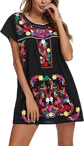 YZXDORWJ Women's Casual Skirt Boho Mexican Peasant Dresse (225BK, XL)