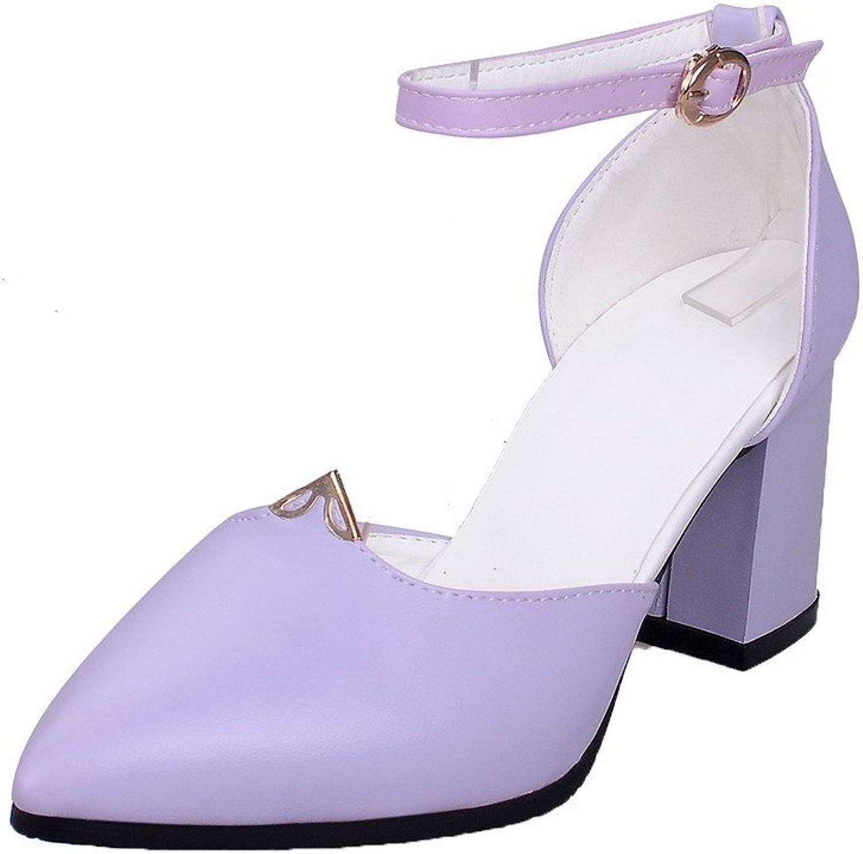 AmoonyFashion Women's PU Buckle Closed Toe Solid Sandals