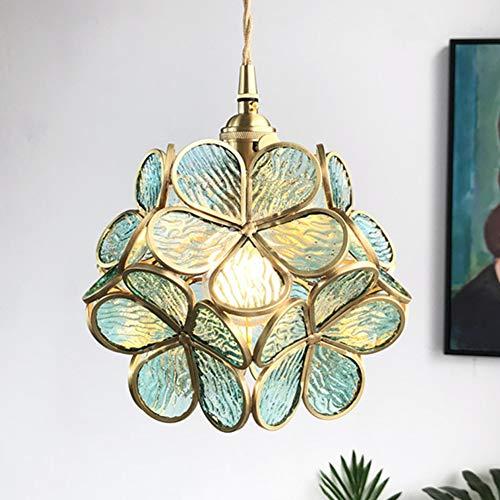 Yunjie Lámpara Colgantes Vintage Pantalla de Cristal de Colores Lámpara de Techo E27 12W LED Bombilla Decoración Hogareña para Techo Loft Cocina Comedor Bar Iluminación,Azul