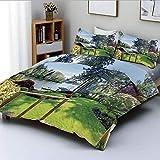 Juego de funda nórdica, soleado día de primavera, vista al muelle en el campo, casa rural, imagen de la naturaleza, juego de cama decorativo de 3 piezas con 2 fundas de almohada, multicolor, el mejor