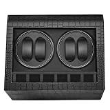 MerLerner Automatic Watch Winder Collector with 4 Watch Winder + 6 Display Storage Spaces for All (Crocodile PU Leather Design Luxury Black )
