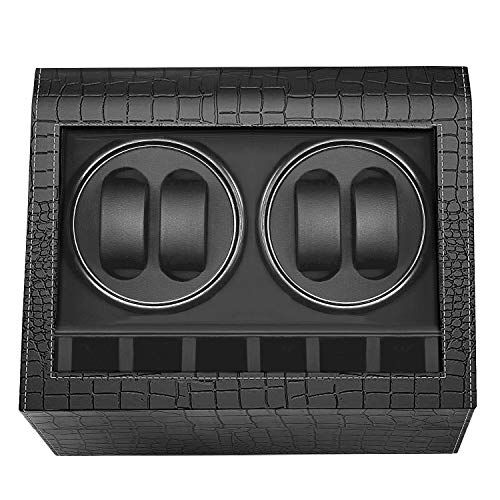 MerLerner Automatic Watch Winder Collector with 4 Watch Winder + 6 Display Storage Spaces for All (Crocodile PU Leather Design Luxury Black)