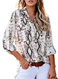 Astylish Women Casual Cuffed Long Sleeve Snake Print Button up V Neck Tunic Shirts Tops Gray Large