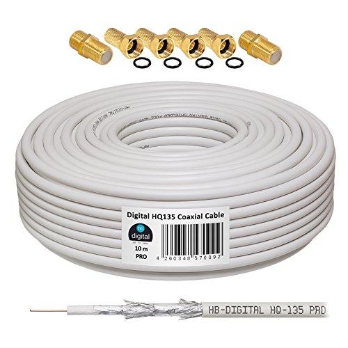 130dB 10m Koaxial SAT Kabel HQ-135 PRO 4-Fach geschirmt für DVB-S / S2 DVB-C und DVB-T BK Anlagen + 4X vergoldete F-Stecker UND 2X F-Verbinder Gratis dazu
