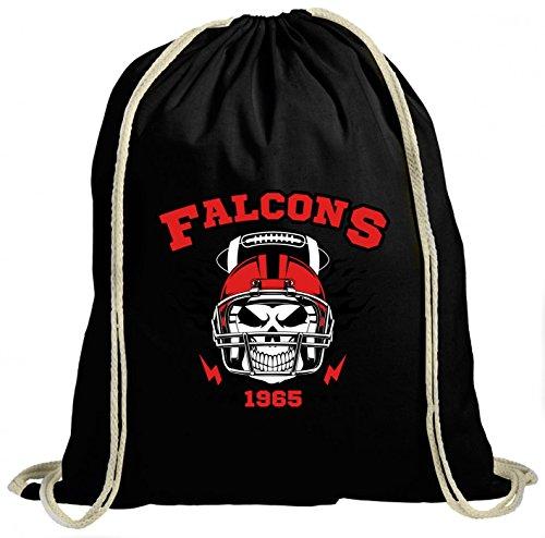 Shirt Happenz Falcons Skull Premium Turnbeutel | American Football | Totenkopf | Football-Helm | Unisex | Gymbag, Farbe:Schwarz (Gymbeutel);Größe:37cm x 46 cm
