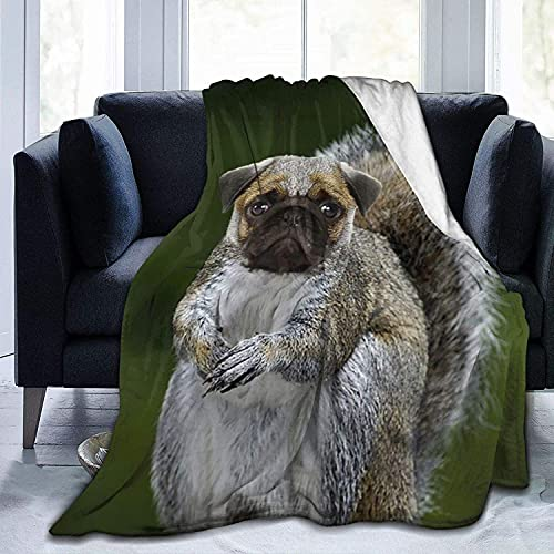 Ultra Soft Micro Fleece Durable Funny Pug Squirrel Throw Blankets Soft Warm Blanket Sheet for Bed Bedding Sofa Office Living Room Home Decor-50*60in