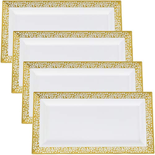 Yumchikel Lace Gold Plastic Serving Trays | Eye Catching Heavy Duty Disposable Decorative Party Platters for Thanksgiving, Christmas, Hanukkah, Weddings, Brunch, Parties, Baby Showers | 4 Pack