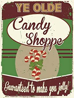 Ye Olde Candy Shoppe Metal Sign, Christmas Peppermint Candy Cane Treats,