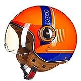 Medio casco de motocicleta Casco de motocicleta vintage Retro para hombres y mujeres Personalidad Estilo Jet Street Casco de cara abierta Cascos de ciclomotor con certificación ECE,A,L