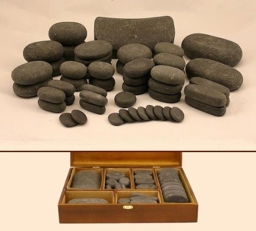 MassageMaster HOT Stone Massage KIT: 54 Basalt Stones (for LaStone Therapy)