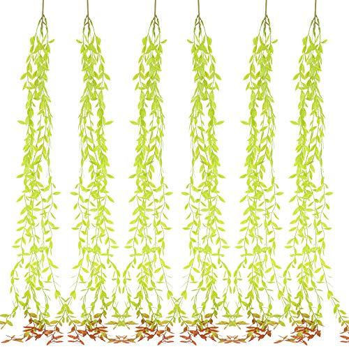 NAHUAA 6Pcs Hängende Pflanzen Efeu Kunstliche Pflanzen Künstliche Hängepflanze Plastik Pflanze Hängend für Hochzeit Party Garten Zuhause Wand Dekoration Grün Rot
