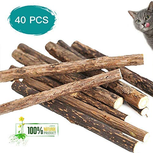 DEYACE Catnip Toys, Organic Natural Plant Matatabi Silver Vine Chew Sticks Cat Teeth Cleaning Chew Toy for Cat Kitten Kitty