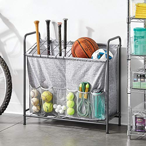 mDesign Sports Storage Rack with Front Pockets - Holds Basketballs, Water Bottles, Footballs, Baseball Bats, Hats, Frisbees, Softballs - Graphite Gray/Gray