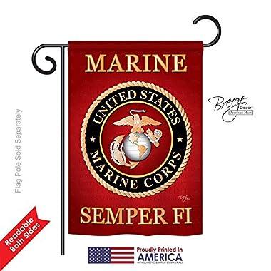 Breeze Decor - Marine Corps Americana - Everyday Impressions Decorative Vertical Garden Flag 13  x 18.5  Printed In USA