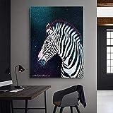 Animal Poster Canvas Surreal Zebra Moon Stars Impreso en Lienzo Wall Art...