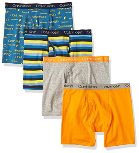 Calvin Klein Boys Underwear Boxer Briefs Value, 4 Pack - Blue/Orange Pack, Medium