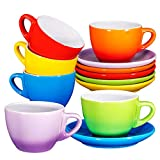 Espresso Cups with Saucers by Bruntmor - 6 ounce - Set of 6 (Multi Color, 6oz)