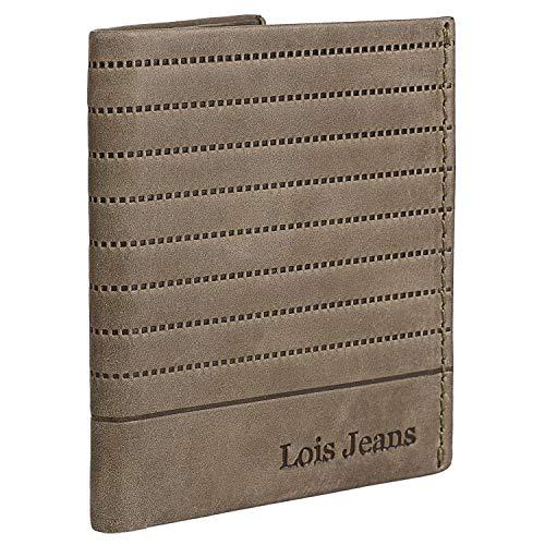 Lois - Echtleder-Herrenbrieftasche mit RFID-Schutz Karteninhaber und Dokumentationsmappe. Geschenkkarton. Ausgezeichnete Qualität. Freizeit-Denim 202217, Color Camel