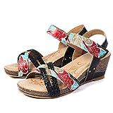 gracosy Sandalias Cuero Verano Mujer Estilo Bohemia Zapatos de Tacón Medio para Mujer de Dedo Cuña Sandalias Talla Grande Chanclas Romanas de Mujer Negro Beige Azul Hecho a Mano Los Zapatos 2019