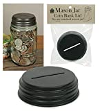 Colonial Tin Works Coin Bank Mason Jar Lid Kitchen Supplies, 3'' dia. x 1''H, Rustic Brown