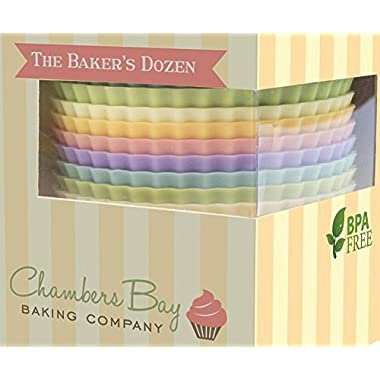 Silicone Baking Cups/13 Reusable Nonstick Cupcake Liners/Premium Muffin Molds - Stand Alone Cupcake Holders - No BPA - Gift Set - 6 Designer Colors - Standard Size