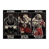 Retro-Poster, Motiv: Pitbull Boxing Be Strong Be Brave Be