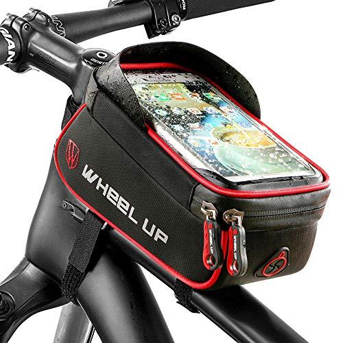 Limiwulw fietstas met frame, fiets, voorkant en tube met touchscreen, waterdichte houder voor mobiele telefoon
